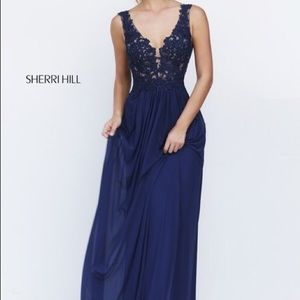 Navy Blue Sherri Hill Dress